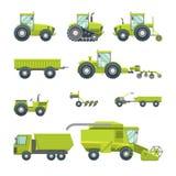 L'icône agricole de véhicules de bande dessinée a placé le type différent Vecteur illustration de vecteur