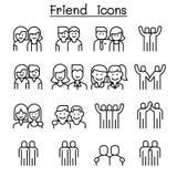 L'icône d'amitié et d'ami a placé dans la ligne style mince illustration de vecteur