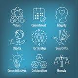 L'icône d'ensemble de responsabilité sociale a placé avec l'honnêteté, intégrité, illustration libre de droits