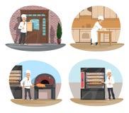 L'icône de chef de Baker, de pizza et de pâtisserie de la boulangerie conçoivent Photos libres de droits
