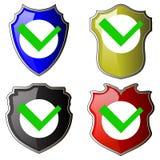 L'icône de contrôle de sécurité, Logotype de bouclier, protègent le signe Mark Approved Logo, garde Symbol, ensemble d'intimité d illustration stock