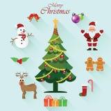 L'icône de Noël place avec Noël Santa Claus, bonhomme de neige Image stock