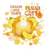 L'icône de Panna Cotta Banana Dessert Colorful choisissent votre affiche de café de goût Photos stock
