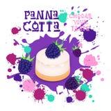L'icône de Panna Cotta Blackberry Dessert Colorful choisissent votre affiche de café de goût Photo stock