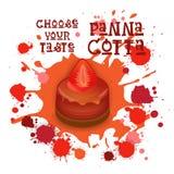 L'icône de Panna Cotta Strawberry Dessert Colorful choisissent votre affiche de café de goût Images stock