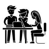 L'icône de projet de planification d'équipe de local commercial, illustration de vecteur, noir se connectent le fond d'isolement Image stock