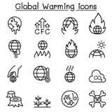 L'icône de réchauffement global a placé dans la ligne style mince illustration libre de droits