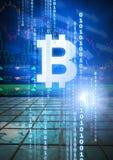 l'icône graphique de bitcoin avec le code binaire et le marché financent des diagrammes d'économie illustration libre de droits