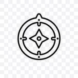 L'icône linéaire de vecteur de boussole azimutale d'isolement sur le fond transparent, concept de transparent de boussole azimuta illustration libre de droits