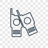 L'icône linéaire de vecteur de concept de talkies-walkies d'isolement dessus transparen illustration de vecteur