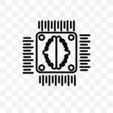 L'icône linéaire de vecteur d'intelligence artificielle d'isolement sur le fond transparent, concept de transparent d'intelligenc illustration de vecteur