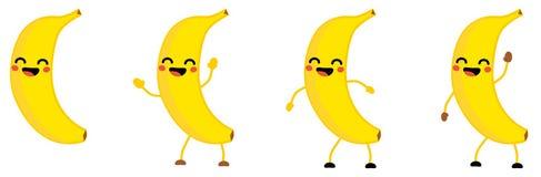 L'icône mignonne de fruit de banane de style de kawaii, yeux s'est fermée, souriant avec la bouche ouverte Version avec des mains illustration stock