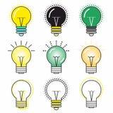 L'icône originale d'une ampoule rougeoyante avec différentes couleurs illustration stock