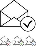 L'icône a placé - courrier avec le coche - le vecteur Photo libre de droits