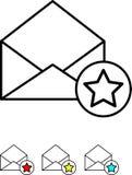 L'icône a placé - courrier avec le signe d'étoile - le vecteur Photo stock