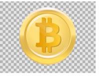 L'icône réaliste de bitcoin d'or, dirigent la pièce de monnaie cryptocurrensy Images stock