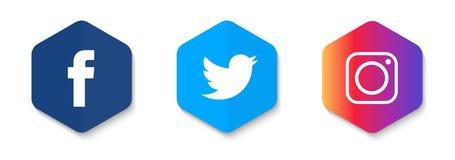 L'icône sociale de médias a placé le concept de construction de vecteur avec de belles couleurs abstraites illustration de vecteur
