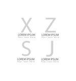 L'icône abstraite de symbole de logotype de lettre d'alphabet de vecteur a placé pour le graphique et le web design de logo Photo stock