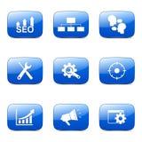 L'icône bleue de SEO Internet Sign Square Vector a placé 5 Photographie stock libre de droits
