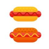 L'icône colorée d'aliments de préparation rapide de bande dessinée de sandwich à viande a isolé le hot-dog américain savoureux de Photos libres de droits
