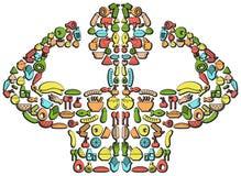 L'icône colorée de nourriture a conçu pour ressembler à un corps d'homme fort avec illustration de vecteur
