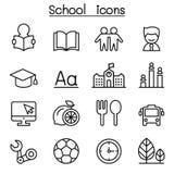 L'icône d'école et d'éducation a placé dans la ligne style mince illustration stock