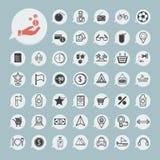 L'icône d'achats et de tourisme a placé sur le papier bleu Photo stock