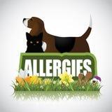 L'icône d'allergies avec le chat de chien plante des arachides Photographie stock