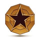 L'icône 3d brillante héraldique peut être employée dans le web design Images stock