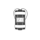 L'icône d'explosion de bombe de dynamite avec la minuterie détonent et câblent Photo stock