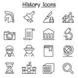 L'icône d'histoire et d'archéologie a placé dans la ligne style mince Image libre de droits