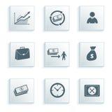 L'icône d'opérations bancaires a placé sur un papier gris d'effet de fond Images stock
