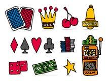 L'icône de casino a placé/occasion pariant des objets de jeux illustration stock