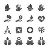 L'icône de charité et de donation a placé 10, le vecteur eps10 Image libre de droits