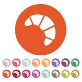 L'icône de croissant Petit déjeuner et dessert, symbole de boulangerie plat Images libres de droits