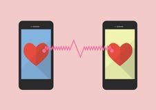 L'icône de deux coeurs a été reliée par deux smartphones Images stock