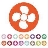 L'icône de fan fan, ventilateur, ventilateur, symbole de propulseur plat Illustration Libre de Droits