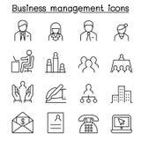 L'icône de gestion d'entreprise a placé dans la ligne style mince Photographie stock libre de droits