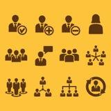 L'icône de gestion, ensemble de 12 icônes Équipe et groupe, travail d'équipe, les gens, alliance, symbole de gestion Ui web logo  Images libres de droits