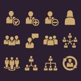 L'icône de gestion, ensemble de 12 icônes Équipe et groupe, travail d'équipe, les gens, alliance, symbole de gestion Ui web logo  Photos libres de droits