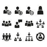 L'icône de gestion, ensemble de 12 icônes Équipe et groupe, travail d'équipe, les gens, symbole d'alliance Ui web logo signe plat Photos stock
