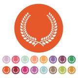 L'icône de guirlande de laurier Prix et récompense, symbole d'honneurs plat illustration stock