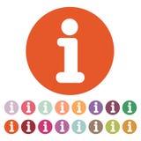 L'icône de l'information Infos et symbole de FAQ plat Photo stock