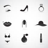 L'icône de Madame réglée sur le fond blanc Image libre de droits