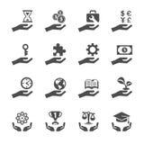 L'icône de main d'affaires et de finances a placé 2, le vecteur eps10 Image stock