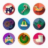 L'icône de Noël et de nouvelle année emballent, conception plate de style Image libre de droits