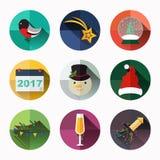 L'icône de nouvelle année et de Noël emballent, conception plate de style Photographie stock