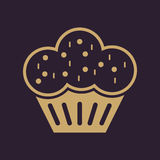 L'icône de petit pain Dessert et cuit au four, gâteau, symbole de boulangerie plat Photographie stock libre de droits