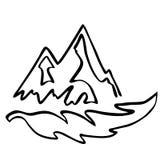 L'icône de qualité de Hiqh des montagnes et un arbre poussent des feuilles Photos stock