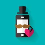L'icône de téléphone portable de hippie avec la moustache et le coeur, dirigent s plat Images libres de droits